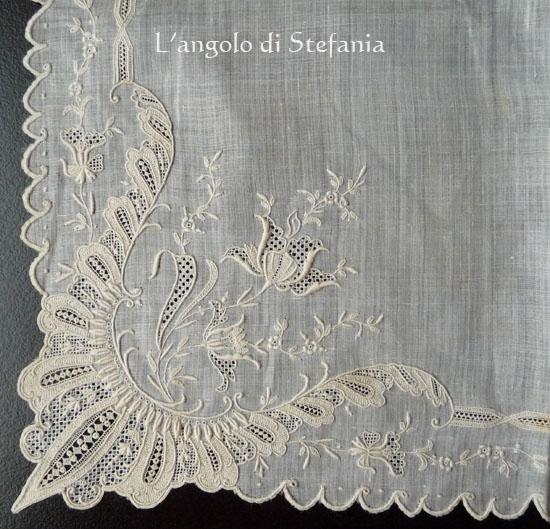 fazzoletto ricamato, embroidered handkerchief
