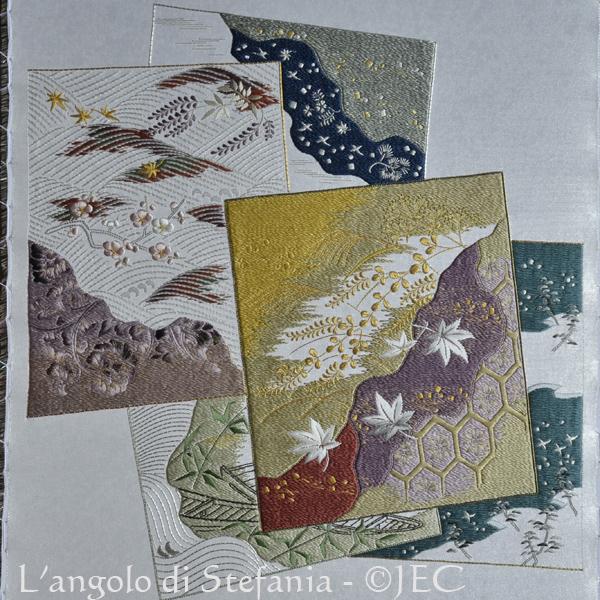 Ricamo giapponese, cartoline delle stagioni