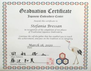 Certificazione Japanese Embroidery Center